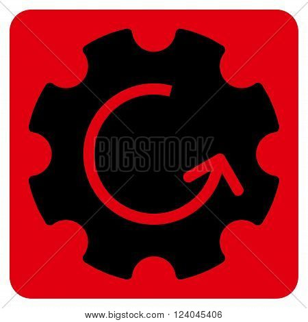 Gear Rotation vector symbol. Image style is bicolor flat gear rotation iconic symbol drawn on a rounded square with intensive red and black colors.