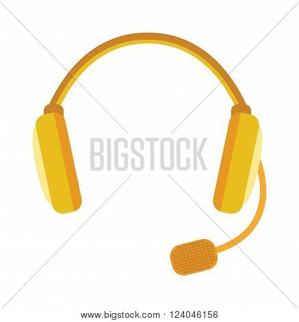 Radio headphones vector illustration. Webinar headphones isolated on white background. Some flat style headphones vector icon illustration.