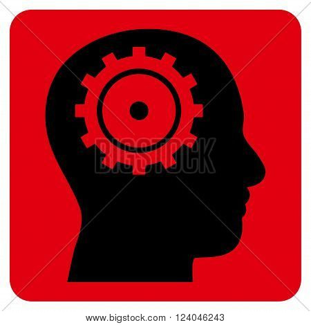 Intellect vector icon symbol. Image style is bicolor flat intellect pictogram symbol drawn on a rounded square with intensive red and black colors.