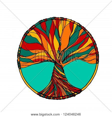 Vector ornament decorative zentangle tree of life. Perfect for coloring book prints t-shirt
