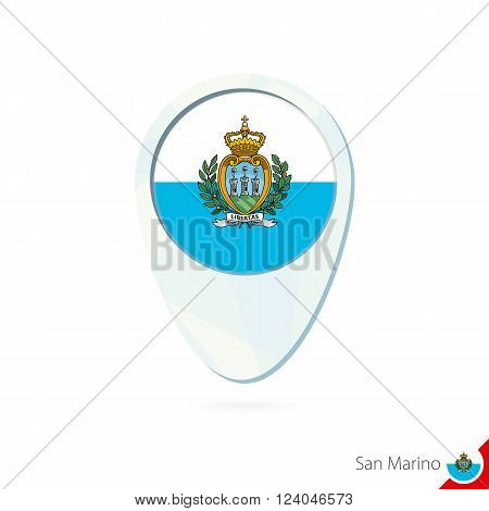 San Marino Flag Location Map Pin Icon On White Background.