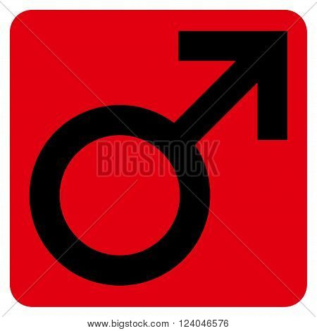 Male Symbol vector pictogram. Image style is bicolor flat male symbol pictogram symbol drawn on a rounded square with intensive red and black colors.