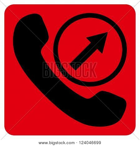 Outgoing Call vector symbol. Image style is bicolor flat outgoing call icon symbol drawn on a rounded square with intensive red and black colors.