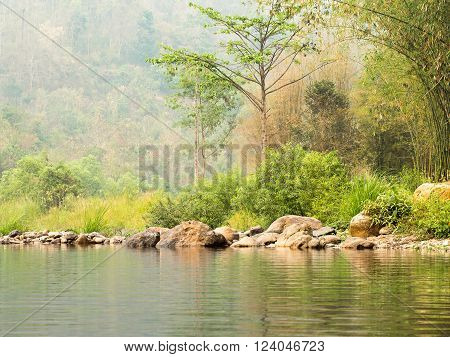 Abundant river forest with stones near the mountain slope.