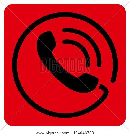 Phone Call vector pictogram. Image style is bicolor flat phone call icon symbol drawn on a rounded square with intensive red and black colors.