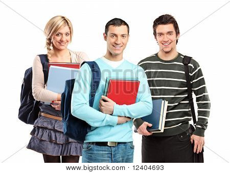 Three Sudents Posing With Books