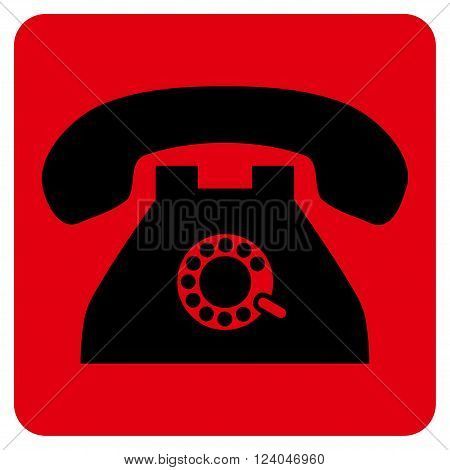Pulse Phone vector icon symbol. Image style is bicolor flat pulse phone pictogram symbol drawn on a rounded square with intensive red and black colors.