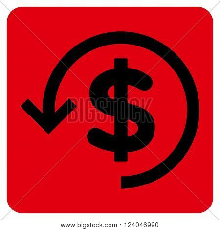 Refund vector pictogram. Image style is bicolor flat refund icon symbol drawn on a rounded square with intensive red and black colors.
