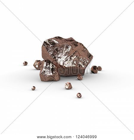 Metal piece, mineral raw materials isolated illustration