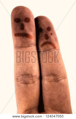 Sad fingers on white background with face