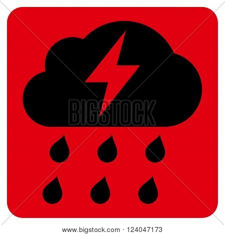 Thunderstorm vector icon. Image style is bicolor flat thunderstorm pictogram symbol drawn on a rounded square with intensive red and black colors.