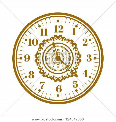 Flat watch face circle measurement and watch face time dial vector symbol isolated on white. Watch face antique clock vector illustration.