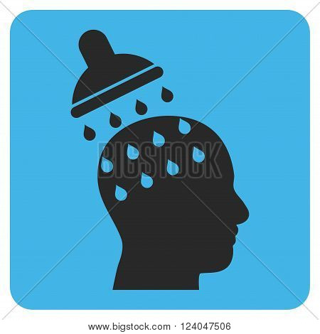 Brain Washing vector symbol. Image style is bicolor flat brain washing icon symbol drawn on a rounded square with blue and gray colors.
