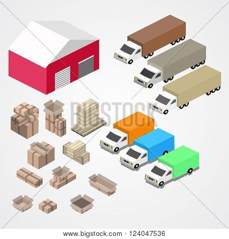 Warehouse logisti and factory warehouse building warehouse exterior business delivery storage cargo illustration