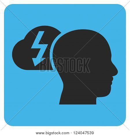 Brainstorming vector icon symbol. Image style is bicolor flat brainstorming iconic symbol drawn on a rounded square with blue and gray colors.