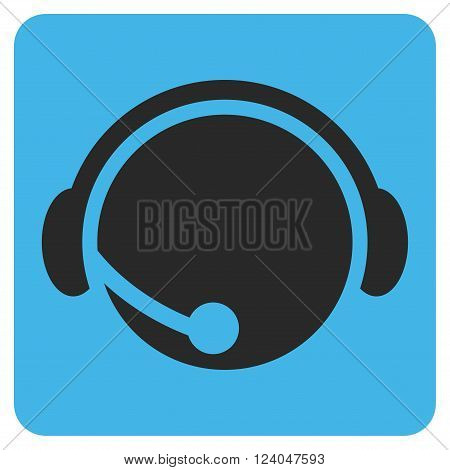 Call Center Operator vector symbol. Image style is bicolor flat call center operator pictogram symbol drawn on a rounded square with blue and gray colors.