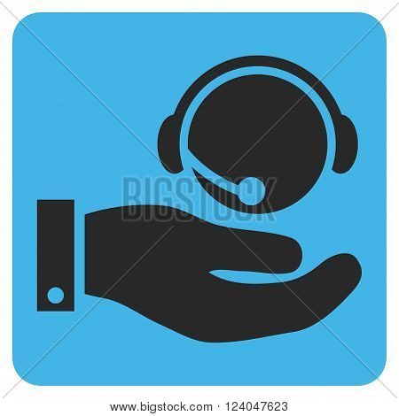Call Center Service vector icon. Image style is bicolor flat call center service pictogram symbol drawn on a rounded square with blue and gray colors.