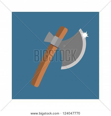 Axe steel isolated and sharp axe cartoon weapon icon. Wooden axe cartoon flat icon of handle wood work equipment vector illustration.