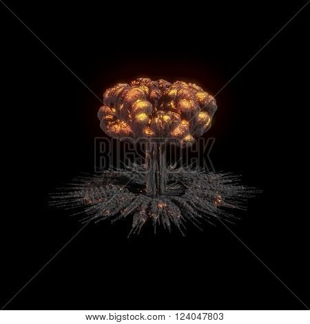 Fire explosions isolated set on white and black  background