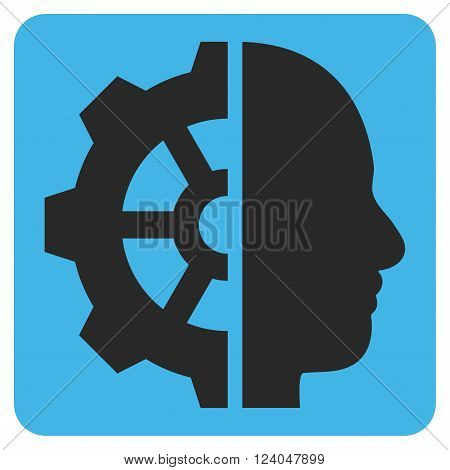 Cyborg Gear vector pictogram. Image style is bicolor flat cyborg gear icon symbol drawn on a rounded square with blue and gray colors.