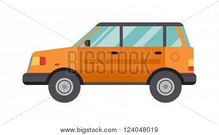Funny flat cartoon car and travel cartoon road car speed model. Cartoon Car Isolated on White Background flat vector illustration.