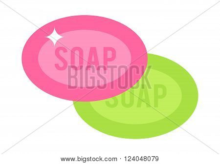 Natural spa soaps care and soap flat pieces cosmetics hygiene tool. Two pink and green pieces soap cartoon flat vector illustration on a white background.