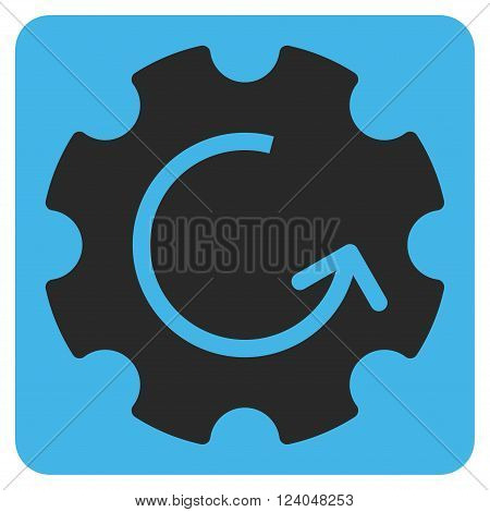 Gear Rotation vector symbol. Image style is bicolor flat gear rotation pictogram symbol drawn on a rounded square with blue and gray colors.