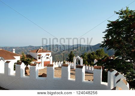 View over the castle battlements towards the mountains Comares Malaga Province Andalusia Spain Western Europe.