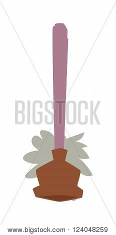 Toilet plunger and brush handle bathroom equipment flat icon vector illustration. Household cleaner toilet plunger, brush work bathroom tools.