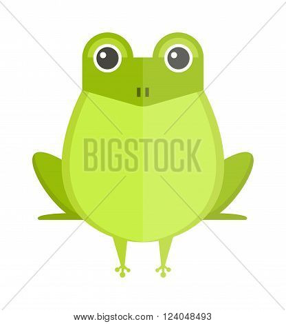 Cartoon Australian green tree frog isolated on white. and cute green cartoon frog. Australian funny green cartoon frog flat vector illustration.