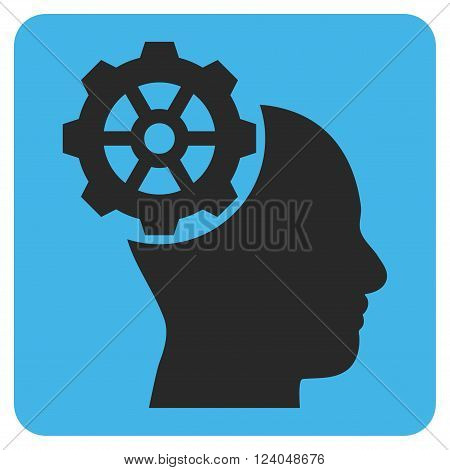 Head Gear vector icon symbol. Image style is bicolor flat head gear pictogram symbol drawn on a rounded square with blue and gray colors.