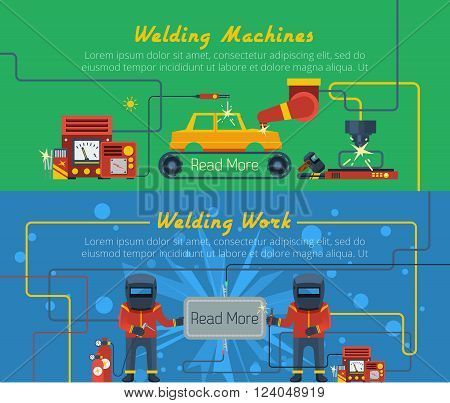 Two flat horizontal vector banners with illustration of welders tools and welding machines
