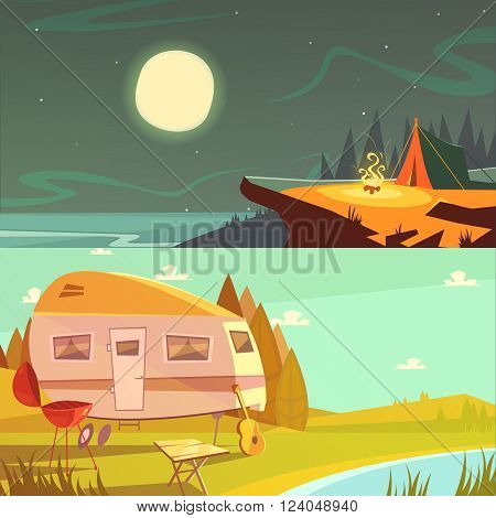 Hiking and camping cartoon horizontal banners set with trailer and tent isolated vector illustration
