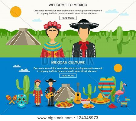 Mexico banner set with colorful elements of native culture landscape and sightseeings vector illustration