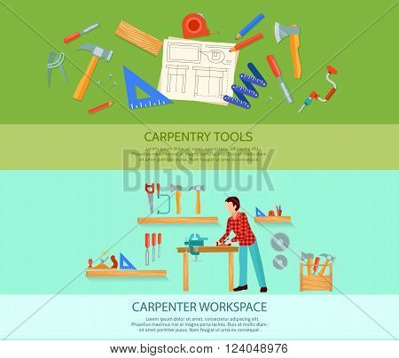 Two carpentry works flat banners set with carpentry tools vector illustration