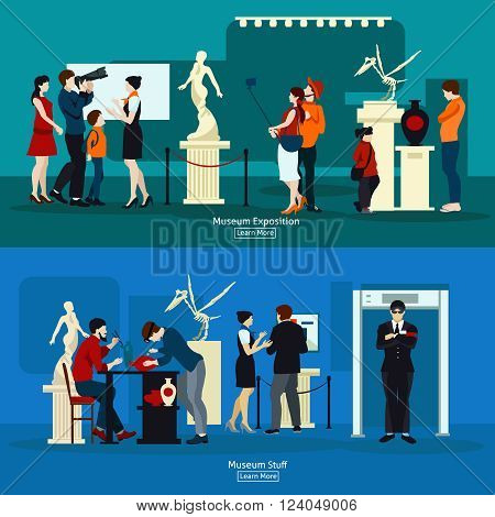 Gallery exposition flat banners set of people visiting antique museum of paleontology and museum stuff vector illustration