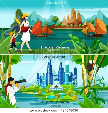 Vietnam and malaysia travel flat colorful compositions with modern and historical asian architecture and tourists at exotic background vector illustration