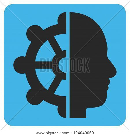 Intellect vector icon symbol. Image style is bicolor flat intellect pictogram symbol drawn on a rounded square with blue and gray colors.