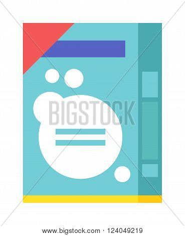 Washing powder container, pack with washing powder for housework cleaning. Pack of housework cleaning washing powder flat vector illustration on white background.