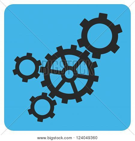 Mechanism vector icon symbol. Image style is bicolor flat mechanism pictogram symbol drawn on a rounded square with blue and gray colors.