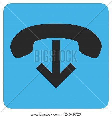 Phone Hang Up vector icon. Image style is bicolor flat phone hang up iconic symbol drawn on a rounded square with blue and gray colors.