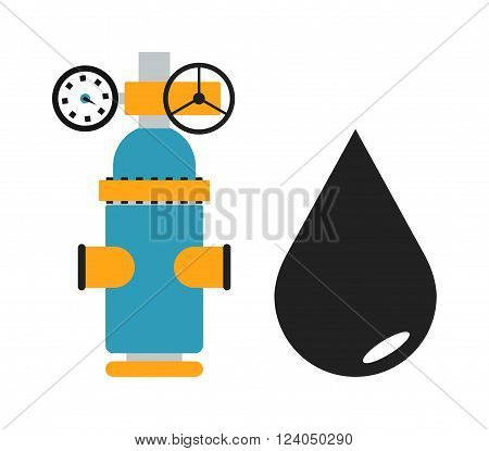Oil black drop vector illustration and some oil or gas industry equipment isolated on white background. Black oil drop vector icon illustration, oil drop silhouette