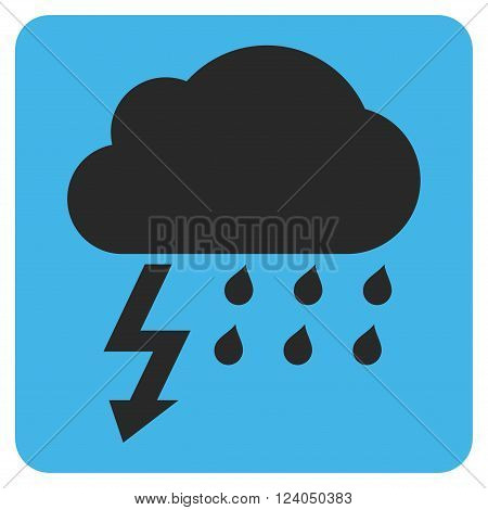 Thunderstorm vector pictogram. Image style is bicolor flat thunderstorm icon symbol drawn on a rounded square with blue and gray colors.