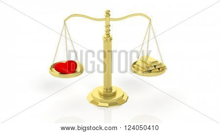 Balance scale with red heart and gold bars, isolated on white background.3d rendering