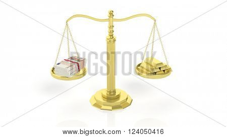 Balance scale with Euro packs and gold bars, isolated on white background. 3d rendering