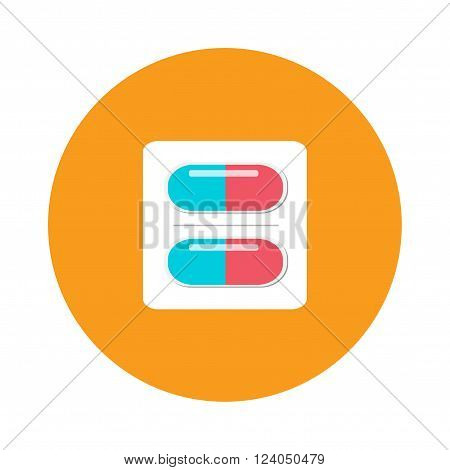 Pills pack blister icon of medication pills package and pills medicaments flat vector icon. Silver blister packs pills icon medical drugs cartoon flat vector illustration.
