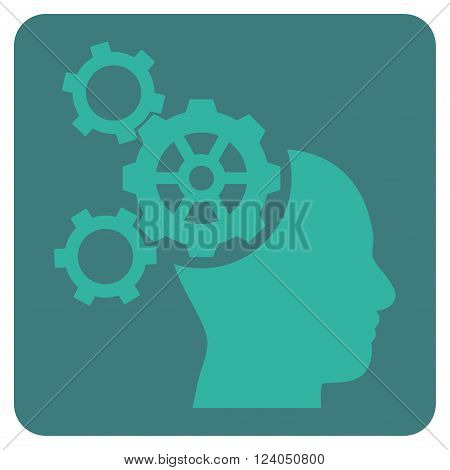 Brain Mechanics vector symbol. Image style is bicolor flat brain mechanics pictogram symbol drawn on a rounded square with cobalt and cyan colors.