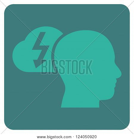 Brainstorming vector pictogram. Image style is bicolor flat brainstorming pictogram symbol drawn on a rounded square with cobalt and cyan colors.