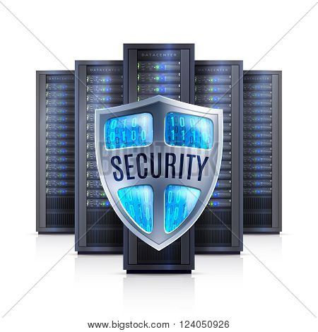 Computer server racks with security shield protection symbol black on white background realistic isolated vector illustration