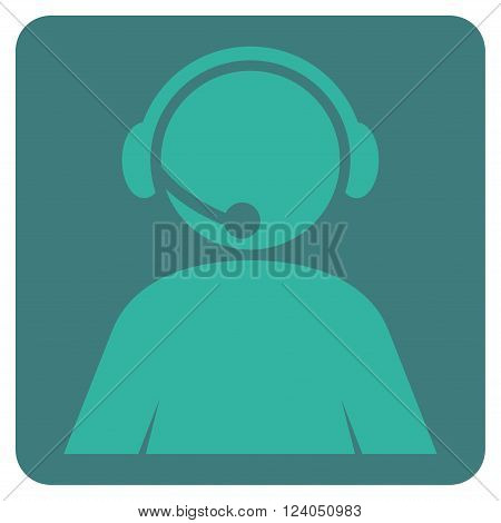 Call Center Operator vector icon symbol. Image style is bicolor flat call center operator iconic symbol drawn on a rounded square with cobalt and cyan colors.